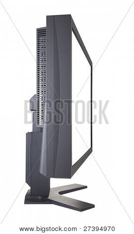 Computer monitor with clipping path, side view