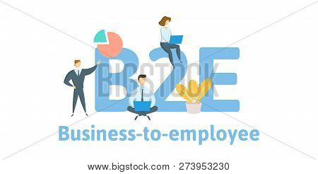 B2E, business to employee. Concept with keywords, letters, and icons. Flat vector illustration. Isolated on white background. poster