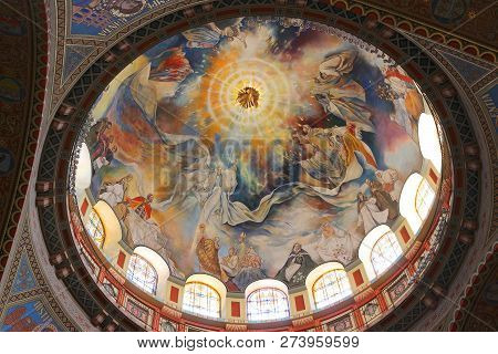 Szeged, Hungary - August 13, 2012: Art Of Votive Church In Szeged, Hungary. It Is The Fourth Largest