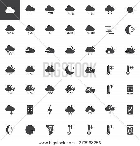 Weather Seasons Vector Icons Set, Modern Solid Symbol Collection, Filled Style Pictogram Pack. Signs