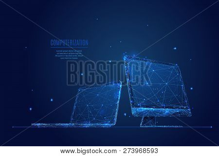 Laptop And Monitor. Computers Themes In Low-poly Wireframe Starry Sky And Cosmos Style. Technology A