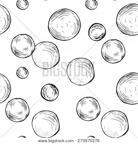 Soap Bubbles Monochrome Pattern Stock Vector Illustration For Web, For Print, For Fabric Print, Text
