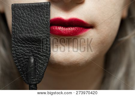 Lash Near Girl Red Lips. Sex And Fetish Bdsm Concept
