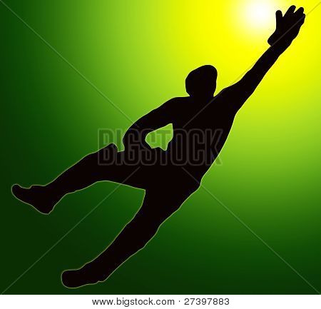 Green Gold Back Sport Silhouette Wicket Keeper Dive