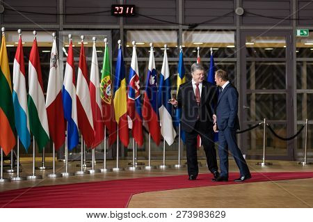 Brussels, Belgium - Dec 12, 2018: President Petro Poroshenko And President Of The European Council D