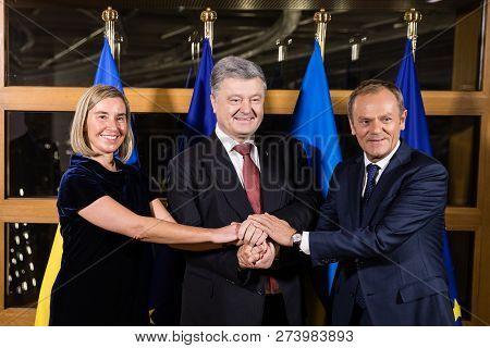 Brussels, Belgium - Dec 12, 2018: Eu Representative For Foreign Affairs Federica Mogherini, Presiden