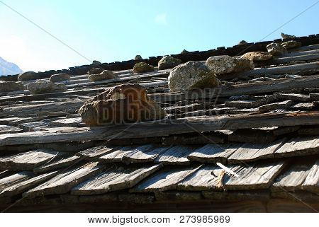 Typical Roof Of A Cottage In The Ultental Valley, South Tyrol, Italy