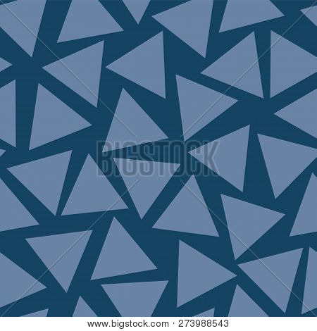 Seamless Vector Pattern Blue Triangles Randomly Placed. Subtle Blue Hues Background. Abstract Geomet