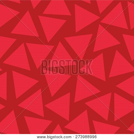 Red Triangles Seamless Vector Pattern. Randomly Placed. Subtle Red Hues Background. Abstract Geometr
