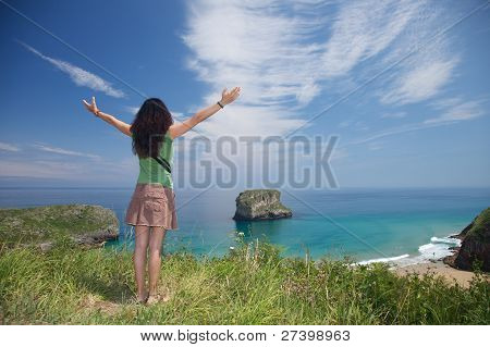 Woman And Islet In Asturias