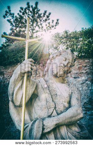 Statue Of Saint In Castle, Nitra, Slovak Republic. Religious Architecture. Travel Destination. Analo