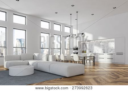 White Living Room And Dining Room Corner