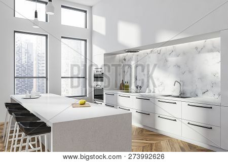 White Kitchen Corner With White Bar