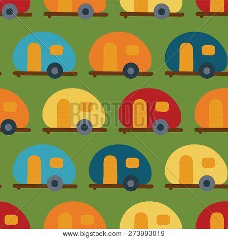 Retro Camper Van Seamless Vector Pattern. Caravans Red, Blue, Yellow, Orange Seamless Vector Backgro