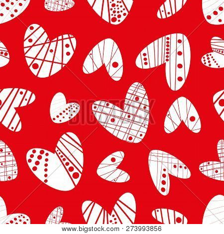 Contemporary Funky Stencil Effect White Hearts Seamless Vector Pattern On Red Background. Great For