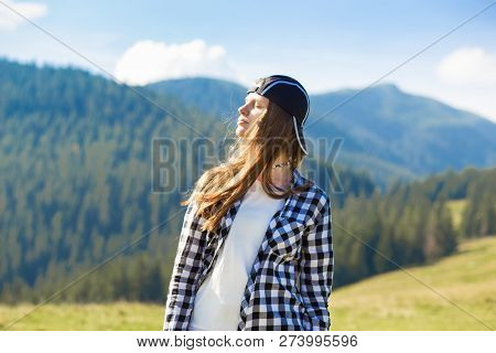 Serenity Young Tourist Woman On Top Of Mountains Contemplating View And Enjoy Freedom