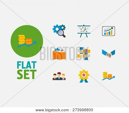 Technology Cooperation Icons Set. Teamwork And Technology Cooperation Icons With Technical Strategy,