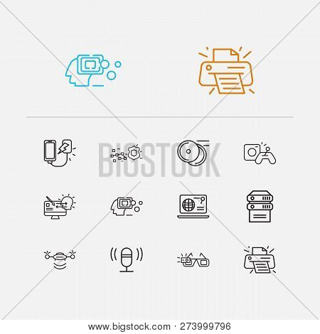 Electronics Icons Set. Data Protection And Electronics Icons With Web Browser, Power Bank And Artifi
