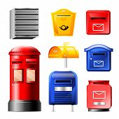 Mail box vector post mailbox or postal mailing letterbox illustration set of postboxes for delivery mailed letters in envelope isolated on white background poster