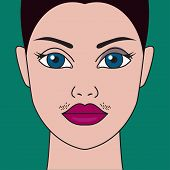 Mustache have women, hormonal imbalance, high testosterone, moustache have girls, cosmetic defect. Vector illustration poster