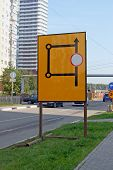 """Temporary road sign """"The circuit of detour"""" in the area of road repair works poster"""