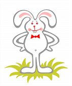 Amusing bunny isolated on a white background. Easter illustration. poster