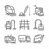 Industrial Cleaning Service. Worker. Vacuum Scrubber. Sweeper Machines. Thin line icon set. Vector illustration. poster