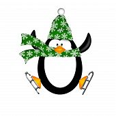 Cute Penguin with Christmas Snowflakes Scarf on Ice Skates Jumping Illustration Isolated on White Background poster