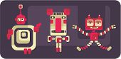 Retro style robots and monsters. Vector cute illustration. poster