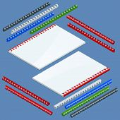 Isometric Document binding components and springs for fastening of catalogs, plastic springs for binding. Vector illustration plastic springs for binding poster