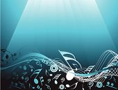 A Blue abstract background with music notes poster