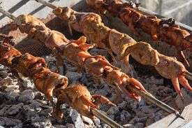 Grilling Quails Over Charcoal Stove
