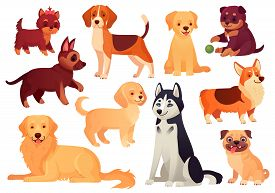Cartoon Puppy And Dog. Happy Puppies With Smiling Muzzle, Loyal Dogs And Friendly Dog Isolated Vecto