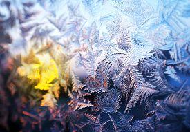 Natural Frosty Pattern On Winter Window Glass