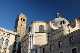 Ancient Buildings In Venice, Italy Against A Deep Blue Sky In Daylight.