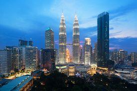 Kuala Lumpur Cityscape. Panoramic View Of Kuala Lumpur City Skyline During Sunrise Viewing Skyscrape
