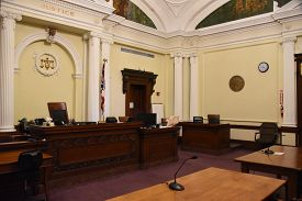 Courtroom Interior With Judges Chair, Wyandot County Courthouse, Upper Sandusky, Oh May 29, 2018, Fi