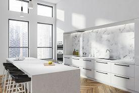 White Kitchen Corner With White Bar