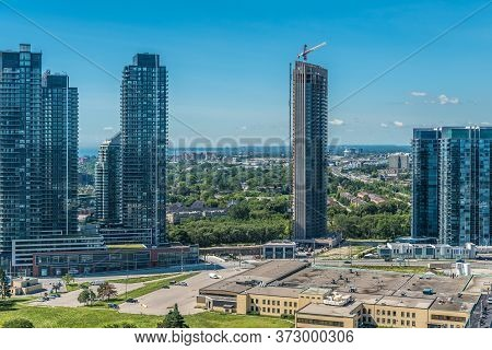 A View Of The Condominiums On The Lake Ontario In Toronto, Canada.