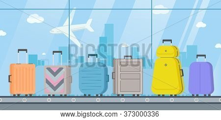 Suitcases Or Luggage With Conveyor Belt In The Airport. Baggage Belt Conveyor.