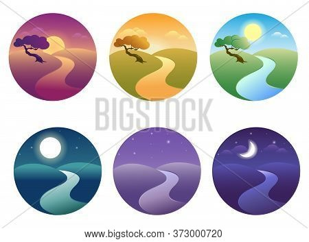 Set Of Modern Beautiful Landscape With Gradients. Sunrise, Dawn, Morning, Day, Noon, Sunset, Dusk An