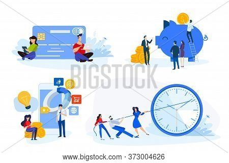 Flat Design Style Illustrations Of Online Payment, M-commerce, E-banking, Time Management, Savings.