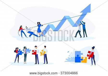 Flat Design Style Illustrations Of Teamwork, Business Opportunities And Solutions, Success. Vector C