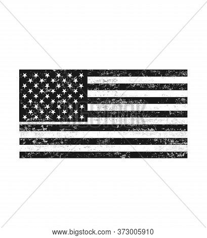 Distressed Black And White American Flag . Grunge Black And White Usa Flag
