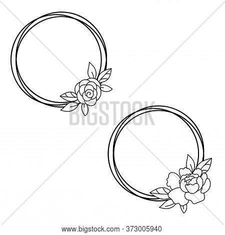 Floral Frame Circle Wreath Monogram. Simple Borders With Flowers Papercut Template Vector.
