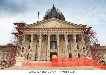 Kansas State Capitol Renovation Scaffoldings. Topeka, Kansas. City In The United States.