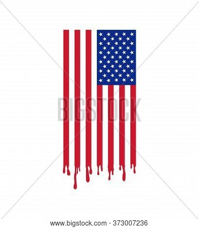 Usa Flag And The Blood Of Freedom. Blood Of Those Who Fight For The Freedom