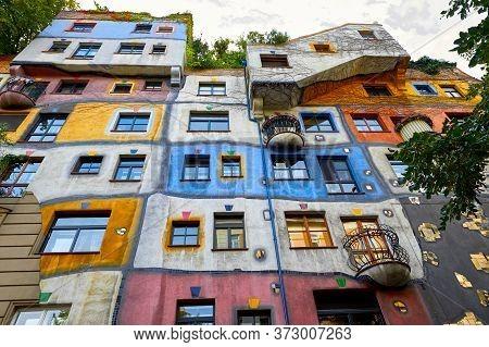 Vienna, Austria - September 2018: View On Hundertwasser House In The City