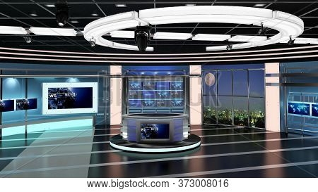 Virtual Tv Studio News Set 27-1. 3d Rendering. Virtual Set Studio For Chroma Footage. Wherever You W