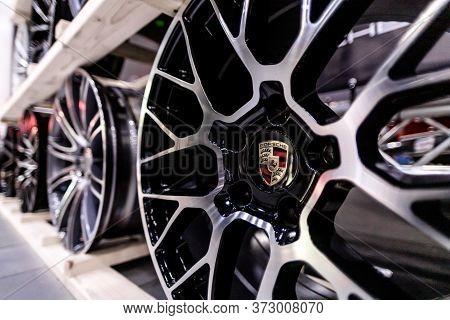 Russia, St.petersburg - July 27, 2019: Steel Sports Porsche Wheels For Car Wheels